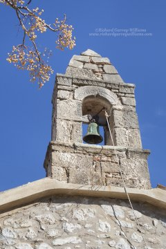 Bell tower of a chapel in Riglia in the southern Peloponnese of Greece
