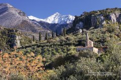 Church in Kardamili with Viros Gorge and Taygetos mountains beyond