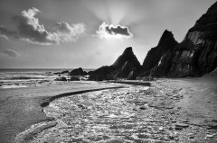 Westcombe Bay depicted in graphic artistic photograph