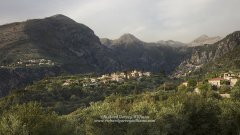 Mountainous landscape viewed from the village of Chora in Exohori in the Mani of Greece